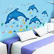 doudouwo® calcomanías pegatinas de pared, animales peces delfín y pvc estrellas de mar pegatinas de pared lindo y hermoso