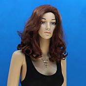 여성 인조 합성 가발 캡 없음 딥 웨이브 브라운 의상 가발