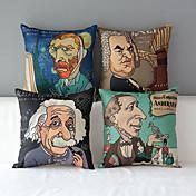 4 현대적인 스타일의 만화 유명 인사 패턴면 / 린넨 장식 베개 커버 세트