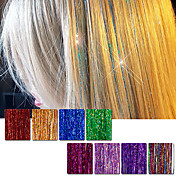 머리카락 틴셀 확장 160 가닥 90cm 8 색 (반짝 이는 빨간색 보라색 무지개 핫 핑크 골드 화이트 블루) dazzles 하이라이트 파티 축제