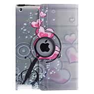 Szív formájú, virágmintás,  360 fokban forgatható PU bőr tok állvánnyal iPad 2/3/4 készülékhez
