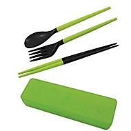 utazni hordozható kivehető műanyag pálcika + kanál + villa szett kofferben kerül (véletlenszerű szín)