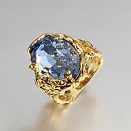 Γυναικεία Εντυπωσιακά Δαχτυλίδια Δαχτυλίδι αρραβώνων Love κοσμήματα πολυτελείας κοστούμι κοστουμιών Cubic Zirconia Επιχρυσωμένο 18K χρυσό