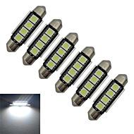 1.5W Festoon Oświetlenie dekoracyjne 4 SMD 5050 80-90lm lm Zimna biel DC 12 V 6 sztuk