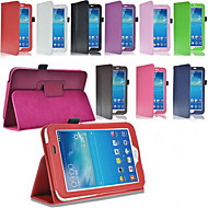 Για Samsung Galaxy Θήκη με βάση στήριξης / Ανοιγόμενη tok Πλήρης κάλυψη tok Μονόχρωμη Συνθετικό δέρμα Samsung Tab 3 10.1 / Tab 3 7.0