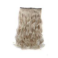 24 polegadas 120g louro longo 5 grampo em extensões do cabelo encaracolado aquecer fibra sintética resistente