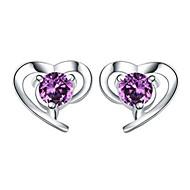 Naisten Niittikorvakorut Kristalli Love Heart pukukorut Sterling-hopea Kristalli Heart Shape Korut Käyttötarkoitus Häät Party Päivittäin