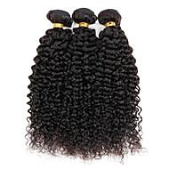 Gerçek Saç Düz Brezilya Saçı İnsan saç örgüleri Kinky Curly Kıvırcık Dalgalar Saç uzatma 3 Parça Siyah Doğal Renk