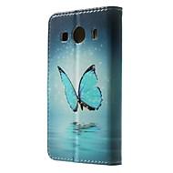 Varten Samsung Galaxy kotelo Korttikotelo / Lomapkko / Tuella / Flip / Kuvio Etui Kokonaan peittävä Etui Perhonen Tekonahka SamsungGrand