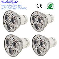 youoklight® 4pcs gu10 3w 200-250lm 3000 / 6000k 백색 또는 온난 한 백색 3 고전력에 의하여지도 된 반점 전구 - (ac110-120 / 220 ~ 240v)