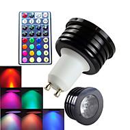 GU10 Lâmpadas de Foco de LED MR16 1 LED de Alta Potência 300 lm RGB Regulável Controle Remoto Decorativa AC 100-240 V 1 pç