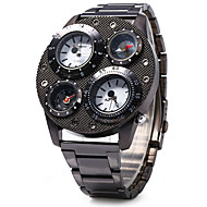 SHI WEI BAO Herre Militærklokke Kompass Termometere Trippel Tidssone Quartz Rustfritt stål Band Kul Luxury Svart