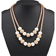 Dames gelaagde Kettingen Parelketting Verklaring Kettingen Parel Legering Modieus Opvallende sieraden leuke Style Europees Kostuum juwelen