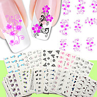 50PCS 네일 아트 물 전송 스티커 50 가지 개 / 설정 꽃 디자인 네일 스티커 누드 포장
