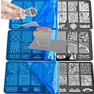10 stuks kant stempelplaat poetsmiddel nagel kunst overdracht sjabloon met vierkante transparante stempel bc1-10