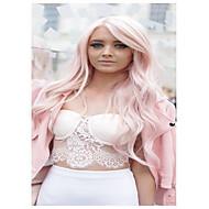 Vrouw Lang Licht Roze Golvend Zijdeel Met Bangs Synthetisch haar Cosplaypruik