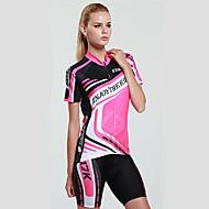 Mysenlan 싸이클 반바지 져지 여성용 짧은 소매 자전거 의류 세트 빠른 드라이 자외선 방지 수분 투과율 높은 호흡 능력(>15.001g) 통기성 폴리에스터 엘라스틴 Randig 여름 레저 스포츠 사이클링/자전거 피치