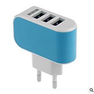 Oplader til hjemmet Til mobiltelefon 3 USB-porte EU  Stik US Stik Rose Grøn Blå Orange Sort