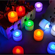 24 kpl / pakkaus led kynttilänvalot t 1 dip led 300 lm punainen sininen keltainen vihreä vaaleanpunainen koriste-painiketta akkuja