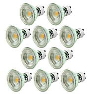 5W GU10 LED 스팟 조명 MR16 1 COB 500 lm 따뜻한 화이트 차가운 화이트 밝기 조절 AC 220-240 V 10개