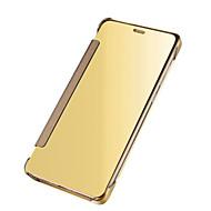 Mert Automatikus készenlét/ébresztés Galvanizálás Tükör Flip Case Teljes védelem Case Egyszínű Kemény PC mert SamsungJ7 (2016) J7 Prime
