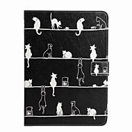 Til Etuier Covere Lommebok Kortholder med stativ Flipp Mønster Heldekkende Etui Katt Hard Kunstlær til iPad (2017) Pro10.5 Pro9.7
