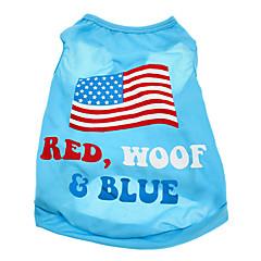 Koirat T-paita Sininen Koiran vaatteet Kesä Kansallislippu / USA / USA