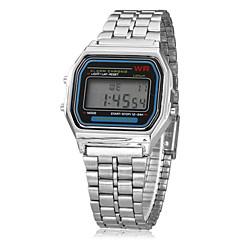 Herren Armbanduhr Digitaluhr digital LCD Kalender Chronograph Alarm Legierung Band Silber Silber