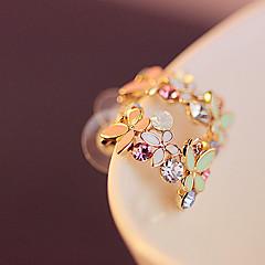 Mulheres Brincos Curtos Básico Moda Colorido bijuterias Strass Liga Formato de Flor Jóias Para Casamento Festa Diário Casual