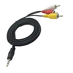 1.5m 5ft 3.5mm mini av naar 3 RCA male adapter audio-video-camcorder-kabel