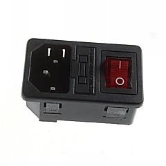 DIY 3-pin 10a / 250V AC hálózati csatlakozó aljzatba biztosítéktartót indikátorral