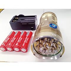 LED zseblámpák LED 9600lm Lumen 3 Mód Cree XM-L T6 4 x 18650 elemek Újratölthető Vízálló Night vision mert