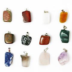 beadia의 24PCS 혼합 된 색 천연 보석의 매력 펜던트 비즈는 불규칙한 모양의 돌에 맞는 펜던트 목걸이 모듬