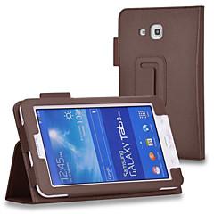 For Samsung Galaxy etui Med stativ Flip Etui Heldækkende Etui Helfarve Kunstlæder for Samsung Tab 4 7.0 Tab 3 7.0 Tab 3 Lite