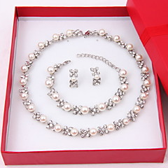 Mulheres Conjunto de Jóias Brincos Curtos pérola Vertentes Colar com Pérolas Pérola Elegant bijuterias Pérola Imitações de Diamante