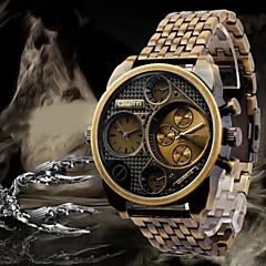 Oulm Herre Militærur Armbåndsur Dobbelte Tidszoner Quartz Japansk Quartz Rustfrit stål Bånd Luksus Sort Bronze Rose Guld