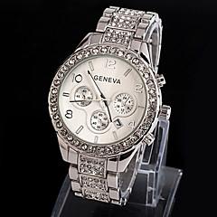 아가씨들 드레스 시계 손목 시계 석영 모조 다이아몬드 합금 밴드 스파클 실버 골드