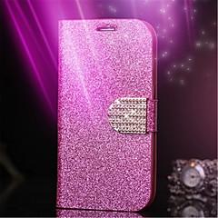 For Kortholder Rhinsten Med stativ Flip Etui Heldækkende Etui Glitterskin Hårdt Kunstlæder for AppleiPhone 7 Plus iPhone 7 iPhone 6s