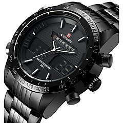 NAVIFORCE Męskie Sportowy Zegarek na nadgarstek Japoński Kwarcowy LED Kalendarz Wodoszczelny Dwie strefy czasowe alarm StoperStal