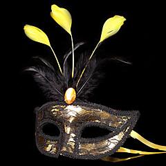 Μάσκα Χορός μεταμφιεσμένων Angel & Devil Γιορτές/Διακοπές Κοστούμια Halloween Χρυσαφί+Μαύρο Patchwork Μάσκα Halloween Απόκριες Γιούνισεξ