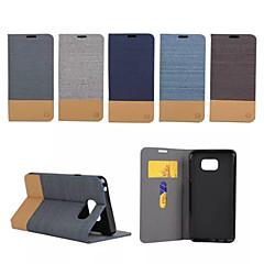 For Samsung Galaxy Note Kortholder Med stativ Flip Etui Heldækkende Etui Linjeret / bølget Kunstlæder for Samsung Note 5 Note Edge