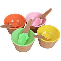 słodkie dzieci lody miska z ustawionym łyżka ekologiczny deser pojemnik plastikowy kubek zastawy stołowej