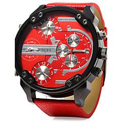Heren Militair horloge Kwarts Kalender Dubbele tijdzones Drie tijdzones Leer Band Cool Luxueus Zwart Blauw Rood Zwart Oranje Rood Blauw