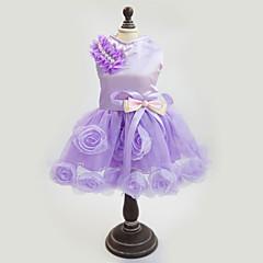 개 드레스 퍼플 / 핑크 강아지 의류 여름 / 모든계절/가을 꽃 / 식물 패션 / 웨딩 / 새해