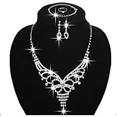 Mulheres Conjunto de Jóias Brincos Curtos Brincos Compridos Colares Statement bijuterias Moda Ajustável Casamento Elegant Cobre Strass