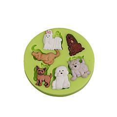 Adorável animal multi cães silicone sugarcraft molde fundante bolo decorativo ferramentas para chocolate cupcake cor aleatória