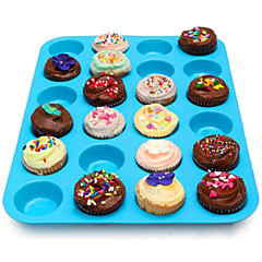 24 Hohlraum Silikon Muffin Kuchenplätzchen Schokoladenform Pfanne Backblech Form zufällige Farbe