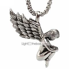 punk stílus medál medál nyaklánc 316L rozsdamentes acélból készült retro angyal szárnyak alakja a férfiak és nők ékszerek