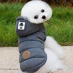 개 코트 후드 조끼 강아지 의류 겨울 모든계절/가을 솔리드 패션 따뜻함 유지 그레이 블루
