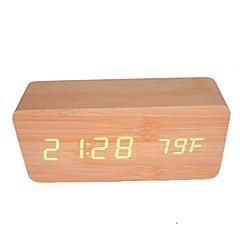 actived 음성 및 터치 - raylinedo® 최신 디자인 패션 대나무 나무의 녹색 빛 나무 디지털 알람 시계 - 시간 온도 날짜 표시를 주도